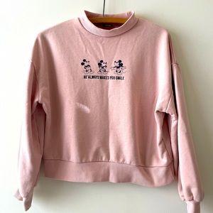 Mickey Mouse blush crop sweatshirt small
